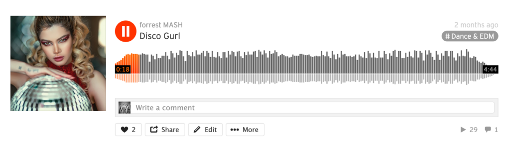 Example of broken comment counter on public SoundCloud profile.